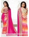 Sensational Art Silk Hot Pink Print Work Printed Saree