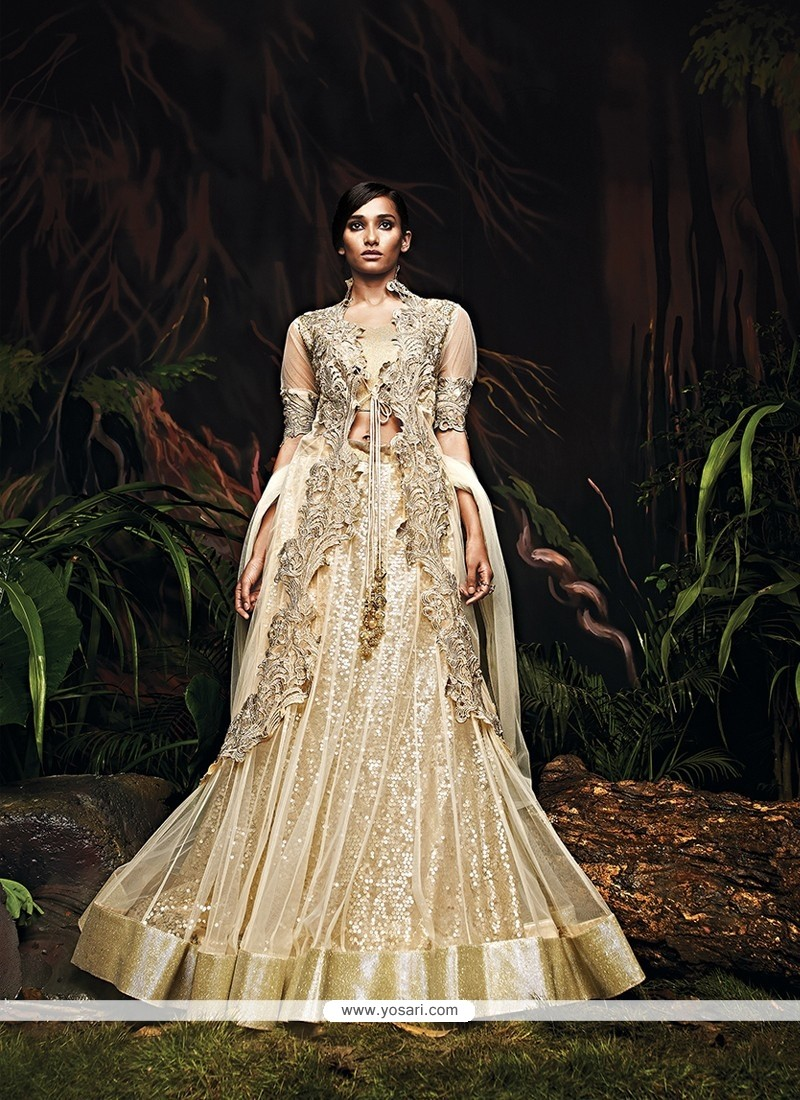 Admirable Cream Net Bridal Lehenga Choli