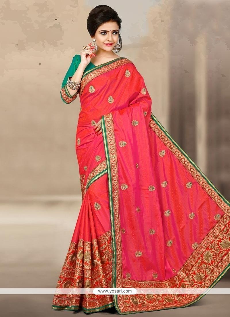 Striking Rose Pink Zari Work Jacquard Silk Designer Traditional Saree