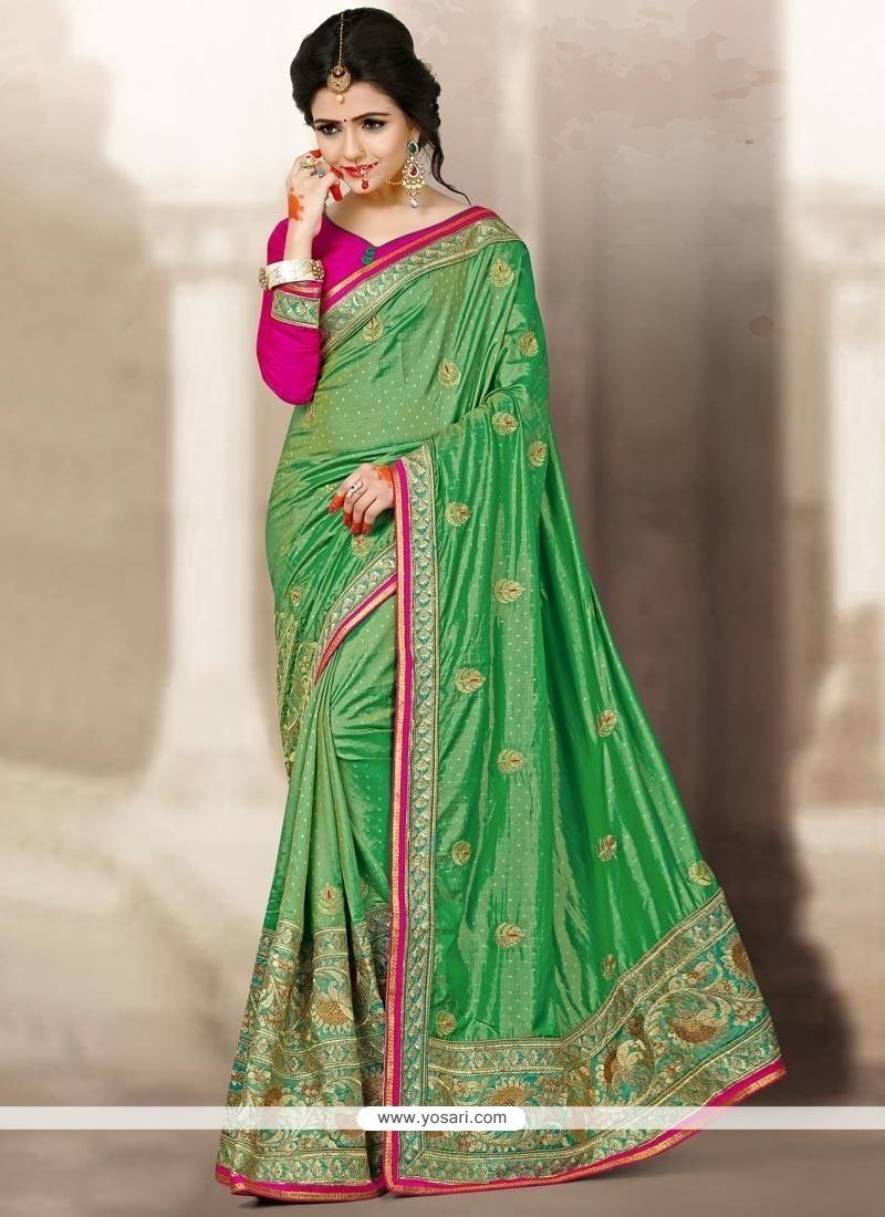 Dainty Sea Green Designer Traditional Saree