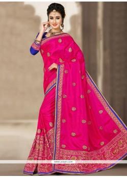 Prime Zari Work Hot Pink Jacquard Silk Designer Traditional Saree