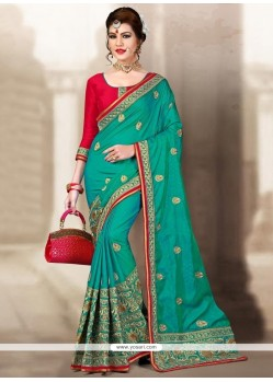 Haute Sea Green Zari Work Designer Traditional Saree
