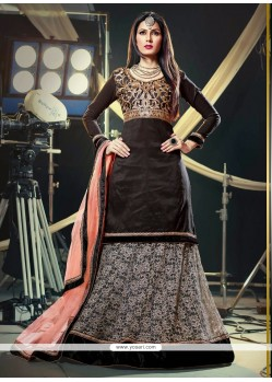 Luxurious Black Resham Work Net Lehenga Choli