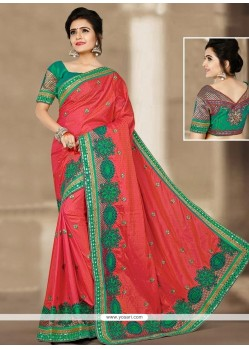 Voguish Orange Patch Border Work Designer Traditional Saree