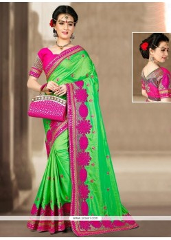 Enticing Green Zari Work Designer Traditional Saree