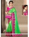 Enticing Green Zari Work Designer Traditional Saree
