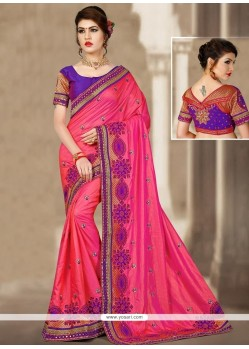 Sumptuous Jacquard Silk Rose Pink Patch Border Work Designer Traditional Saree