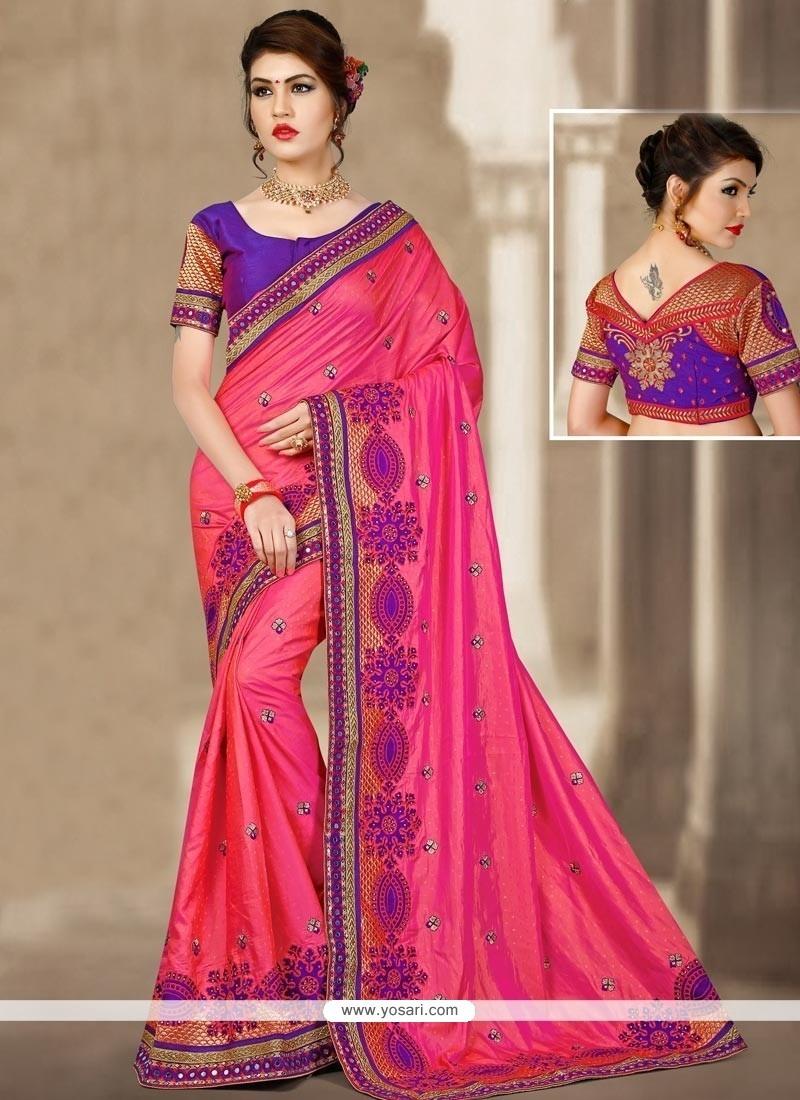 Sumptuous Jacquard Silk Rose Pink Patch Border Work Designer Traditional Saree