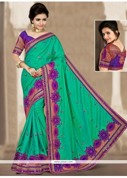 Eye-catchy Sea Green Zari Work Designer Traditional Saree