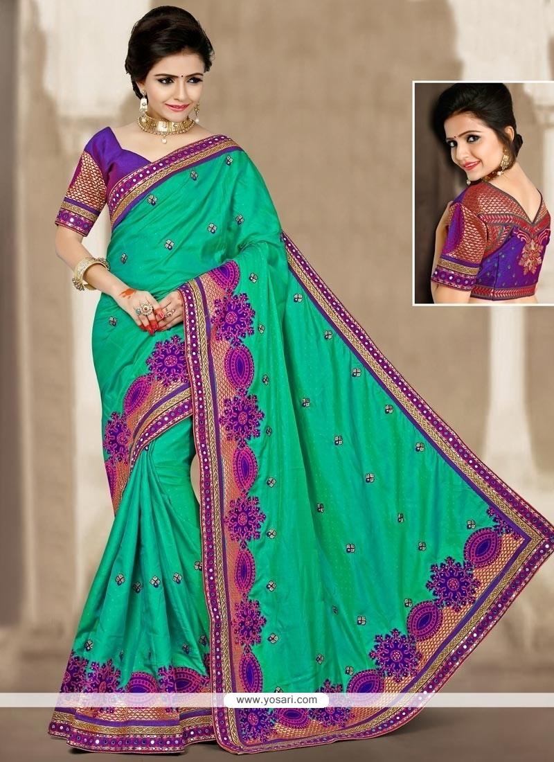 Eye-catchy Sea Green Zari Work Designer Traditional Saree