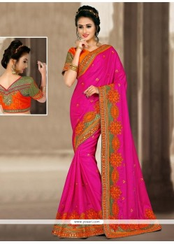 Sightly Hot Pink Zari Work Jacquard Silk Designer Traditional Saree
