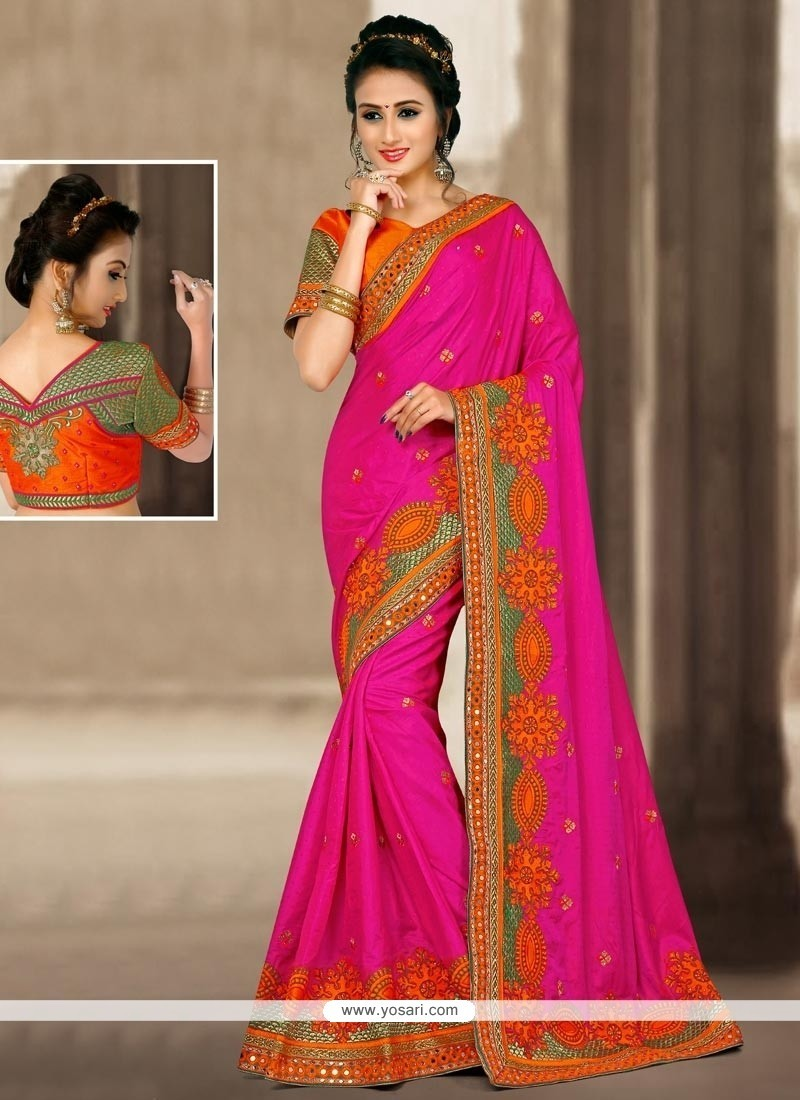 Sightly Hot Pink Zari Work Jacquard Silk Designer Traditional Saree