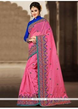 Vivacious Chanderi Pink Classic Designer Saree