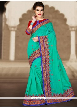 Staggering Embroidered Work Sea Green Classic Designer Saree
