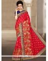 Thrilling Red Designer Traditional Saree