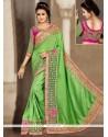 Miraculous Patch Border Work Green Designer Traditional Saree