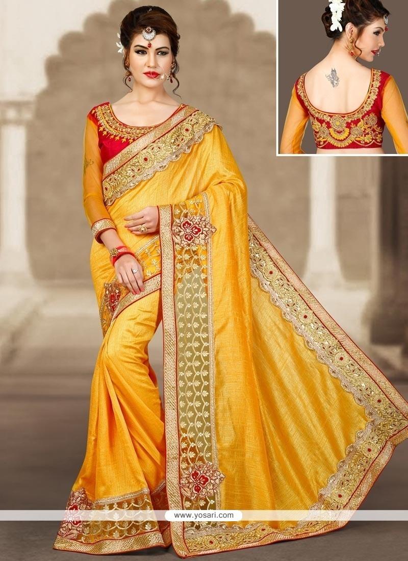 Spectacular Zari Work Yellow Art Silk Designer Traditional Saree