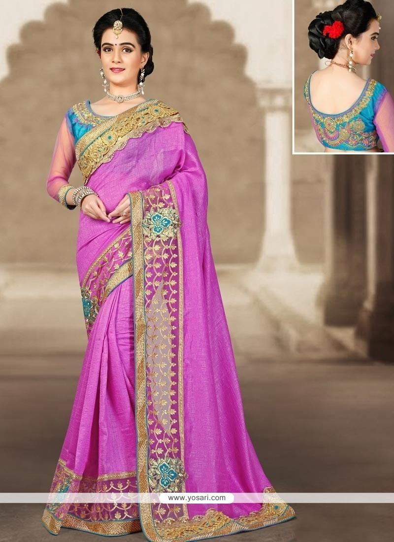 Mystical Art Silk Purple Zari Work Designer Traditional Saree
