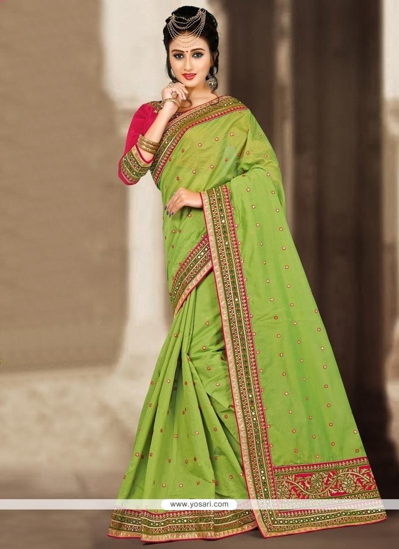Glamorous Chanderi Mirror Work Traditional Saree