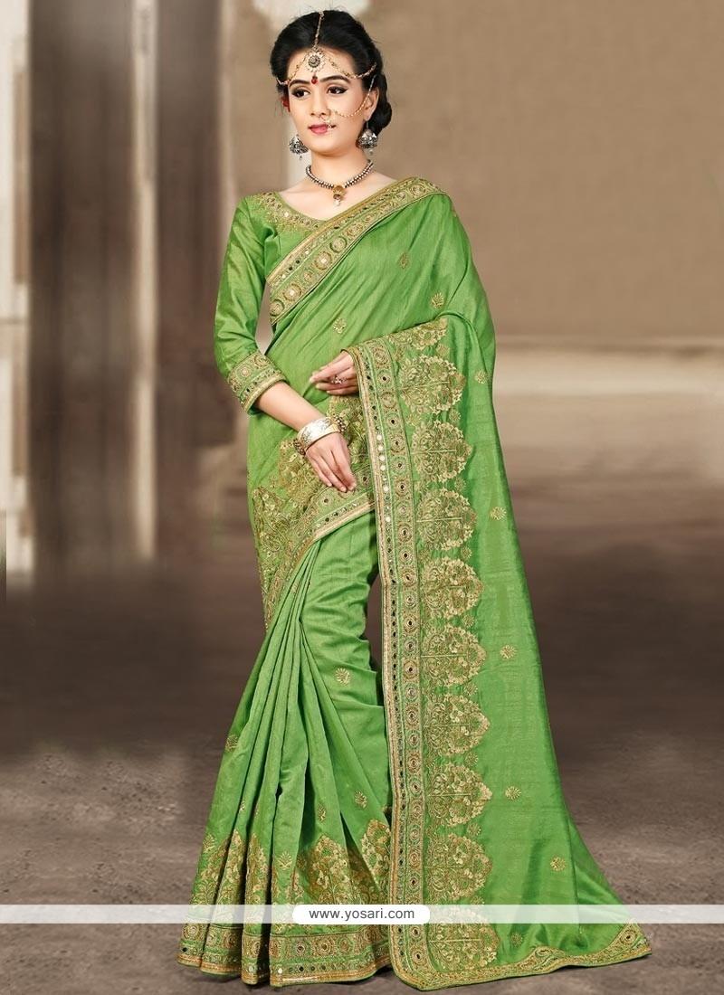 Prepossessing Bhagalpuri Silk Green Designer Traditional Saree