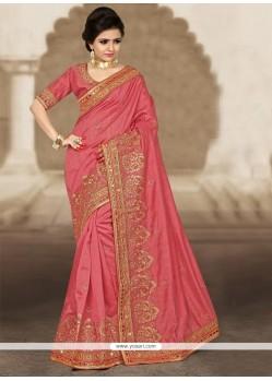 Exciting Bhagalpuri Silk Rose Pink Designer Traditional Saree