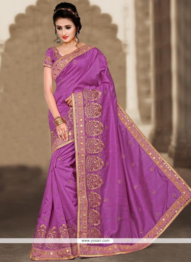 Precious Bhagalpuri Silk Purple Designer Traditional Saree