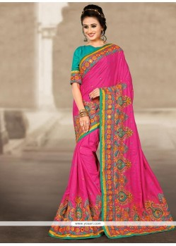 Flamboyant Manipuri Silk Hot Pink Resham Work Traditional Designer Saree