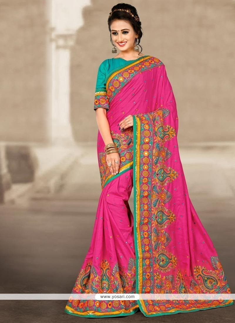Flamboyant Manipuri Silk Hot Pink Resham Work Traditional Designer Saree