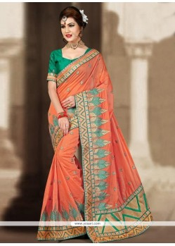 Aesthetic Orange Resham Work Designer Traditional Saree