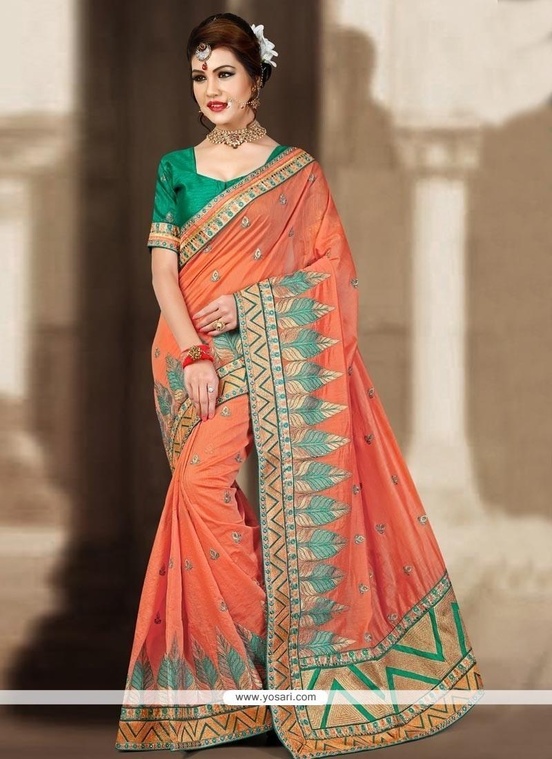 Aesthetic Orange Resham Work Designer Traditional Saree