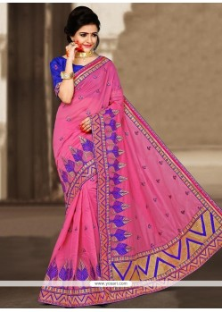 Cute Zari Work Chanderi Designer Traditional Saree