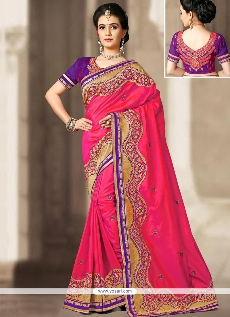 Resplendent Art Silk Hot Pink Zari Work Designer Traditional Saree