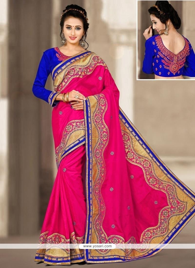 Glamorous Art Silk Hot Pink Designer Traditional Saree