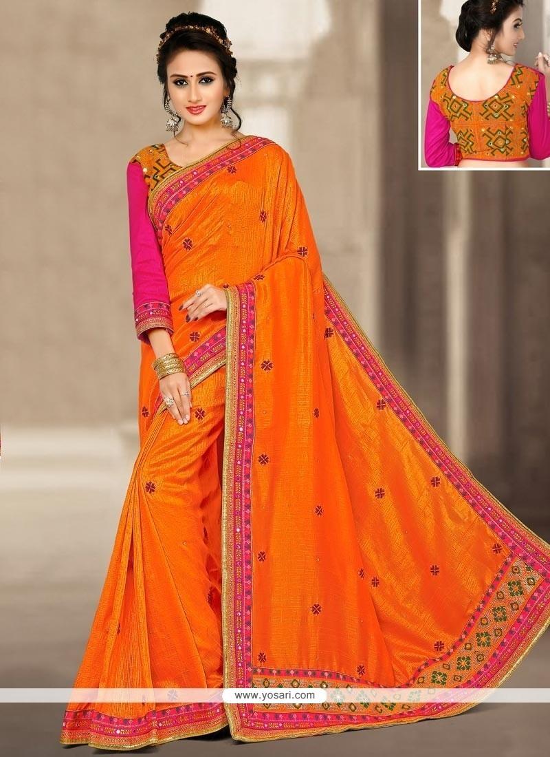 Resham Art Silk Traditional Designer Saree In Orange