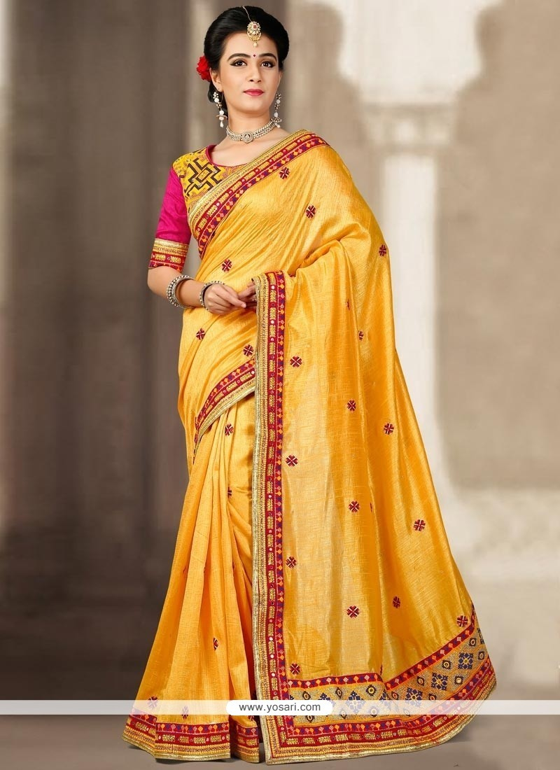 Subtle Yellow Resham Work Traditional Designer Saree