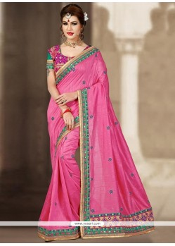 Alluring Zari Work Pink Traditional Designer Saree