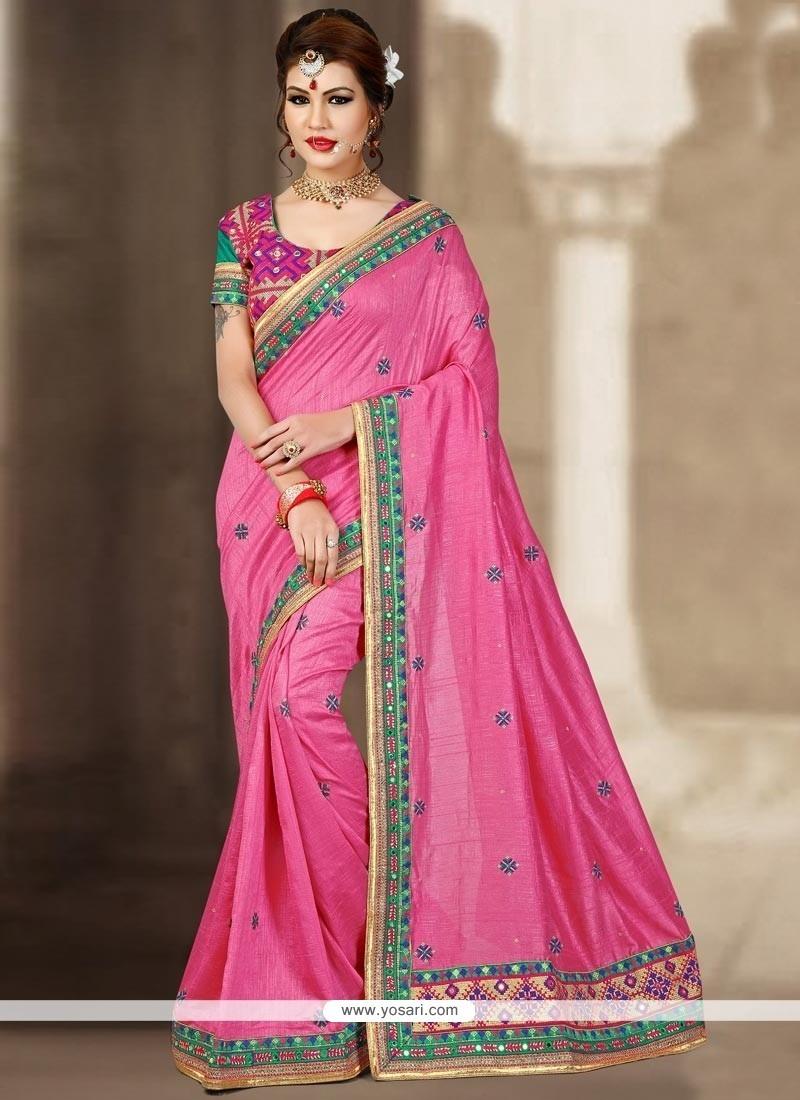 Alluring Zari Work Pink Traditional Designer Saree