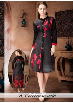 Compelling Black Party Wear Kurti