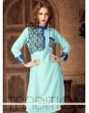 Flattering Cotton Blue Party Wear Kurti