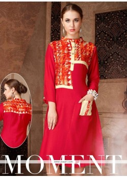 Surpassing Print Work Rayon Red Party Wear Kurti