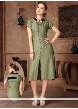 Voguish Green Print Work Party Wear Kurti
