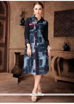 Topnotch Black And Grey Print Work Rayon Party Wear Kurti