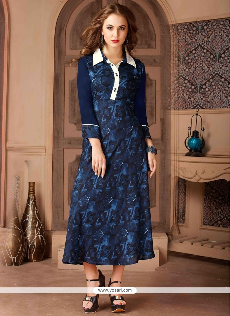 Delectable Print Work Navy Blue Party Wear Kurti
