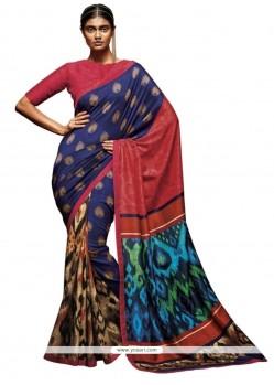 Glossy Multi Colour Print Work Printed Saree