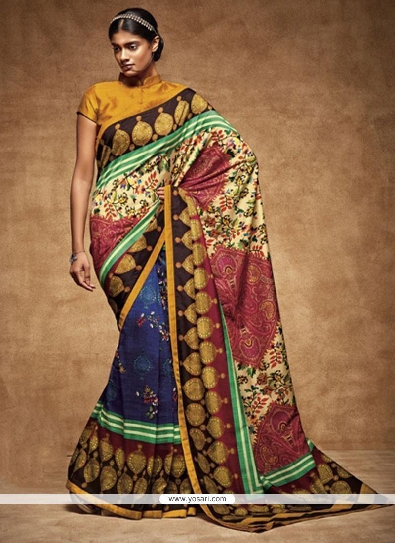 Voluptuous Art Silk Print Work Printed Saree