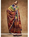 Stylish Art Silk Multi Colour Printed Saree