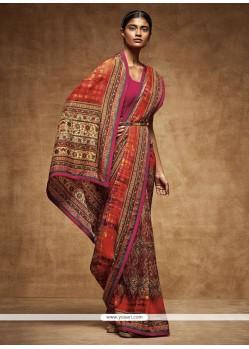 Tantalizing Art Silk Multi Colour Printed Saree