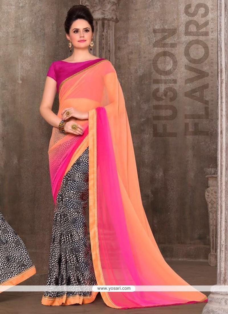 Stylish Faux Georgette Multi Colour Printed Saree