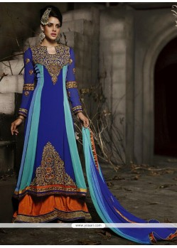 Royal Blue Zari Work Lehenga Choli