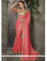 Gratifying Rose Pink Faux Chiffon Classic Designer Saree